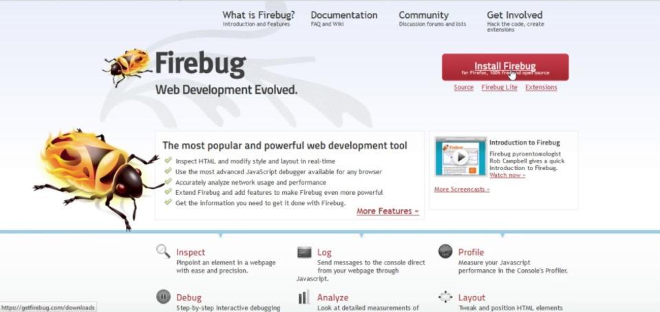 Phần mềm mở rộng trình duyệt web miễn phí Firebug